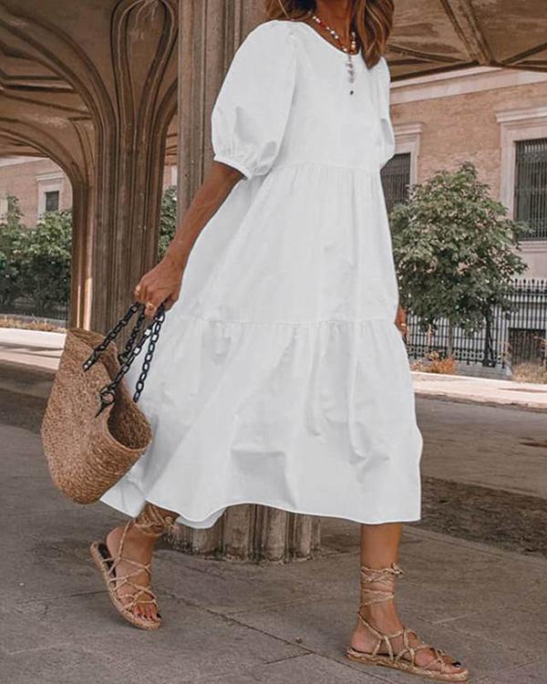 Women Casual Loose  Round Neckline Shift Dress