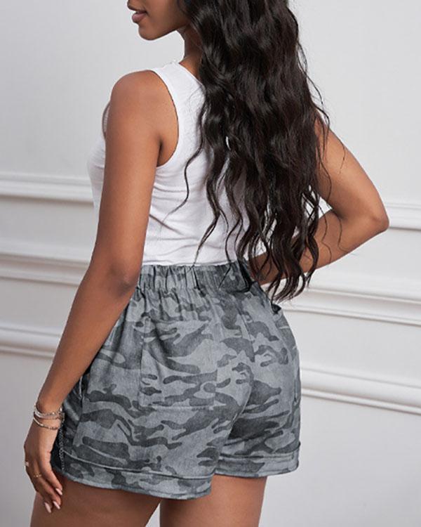 Camouflage Leopard Print High Waist Straight Shorts