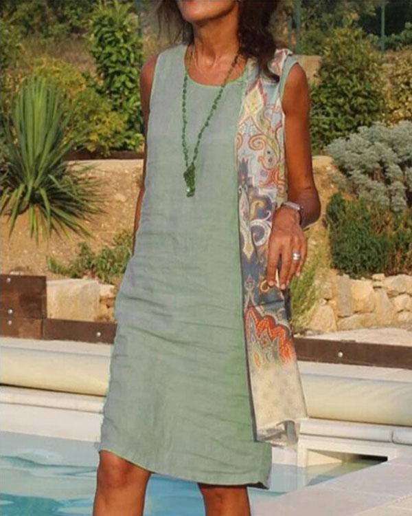 Round Neck Short Sleeve Cotton And Linen Dress