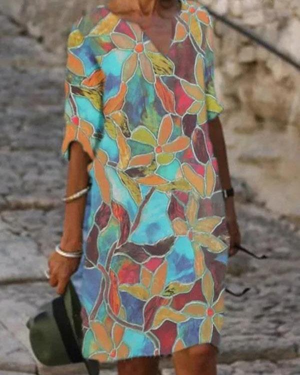 Ladies V-neck Printed Casual Shift Dress