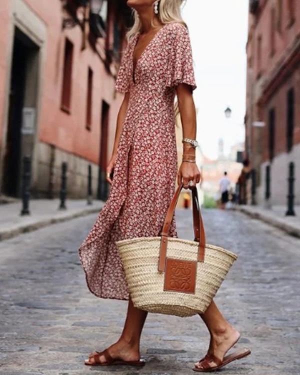 Printed Short Sleeve Swing Dresses