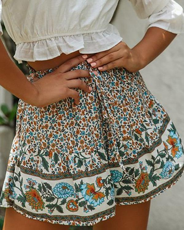 Loose Printed Lace-up Wide-leg Pants