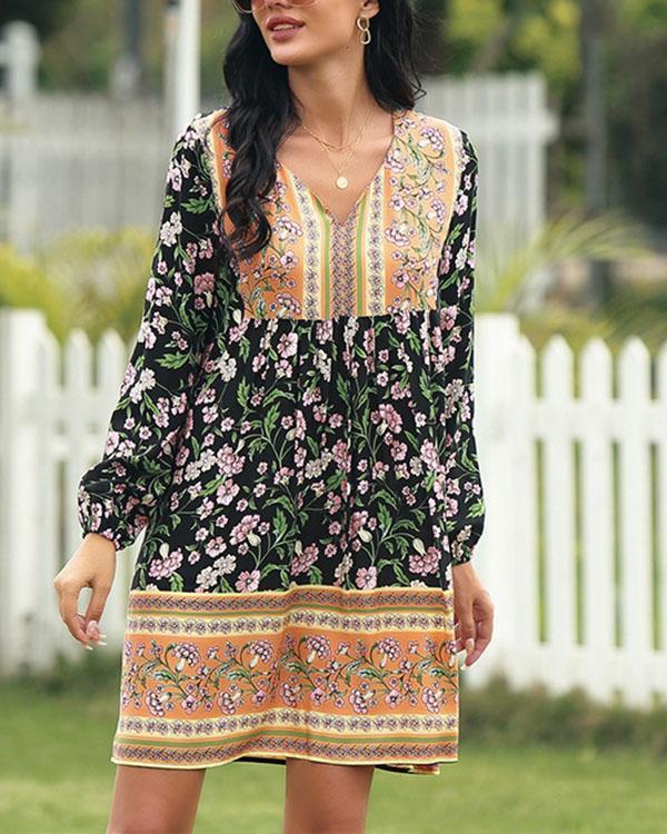 Pastoral Floral V-neck Dress