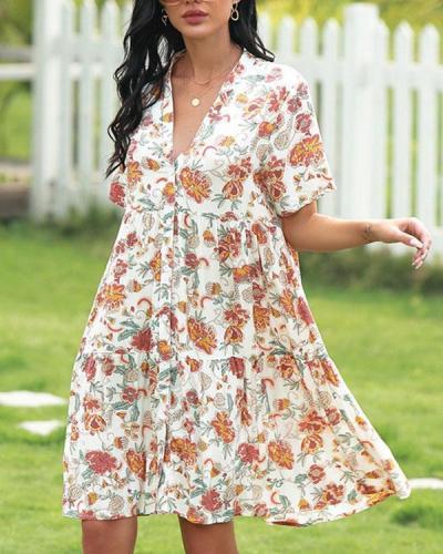 V-neck Sexy Fashion Floral Dress