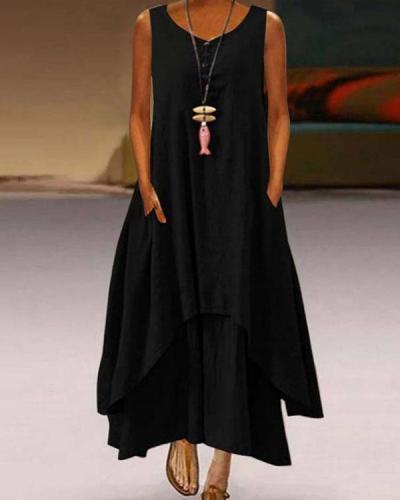 Plus Size Solid Sleeveless A-Line Asymmetrical Maxi Dress