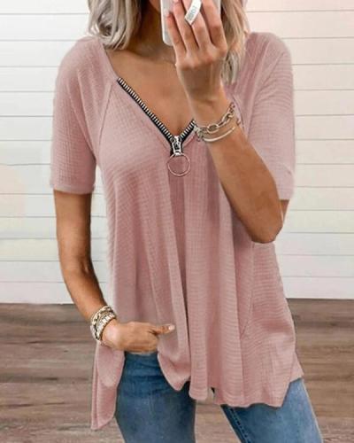V-neck Zipper Short Sleeve Solid Color T-shirt