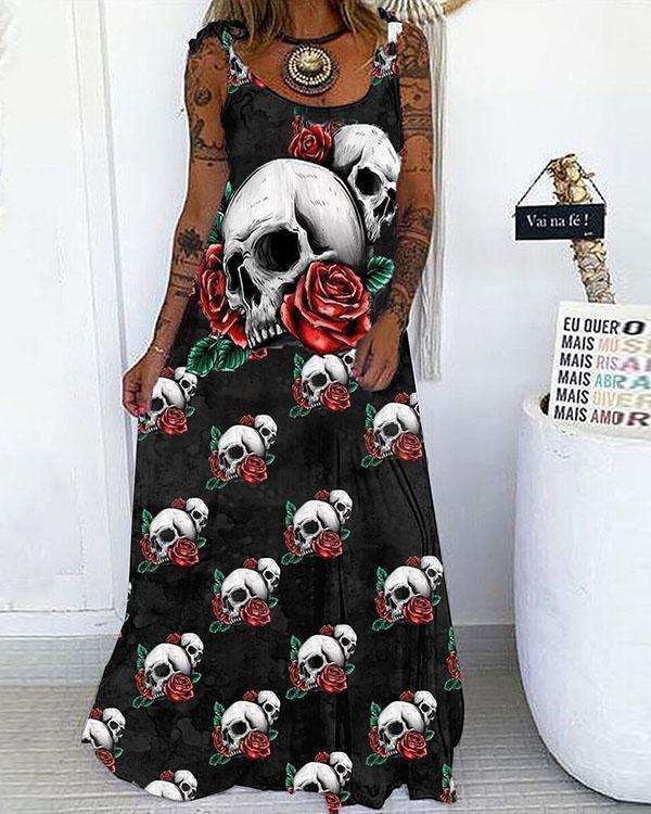 Skull&Rose Print Lace up Spaghetti-Strap Maxi Dress