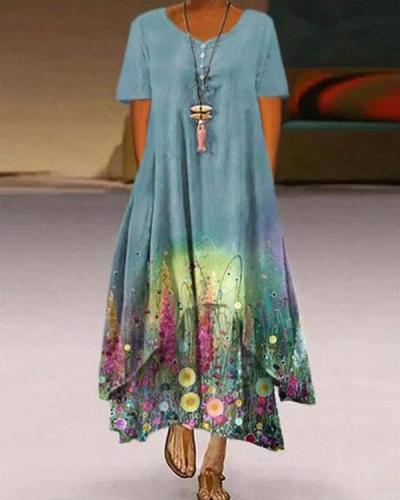 Plus Size Print Short Sleeve A-Line Asymmetrical Maxi Dress