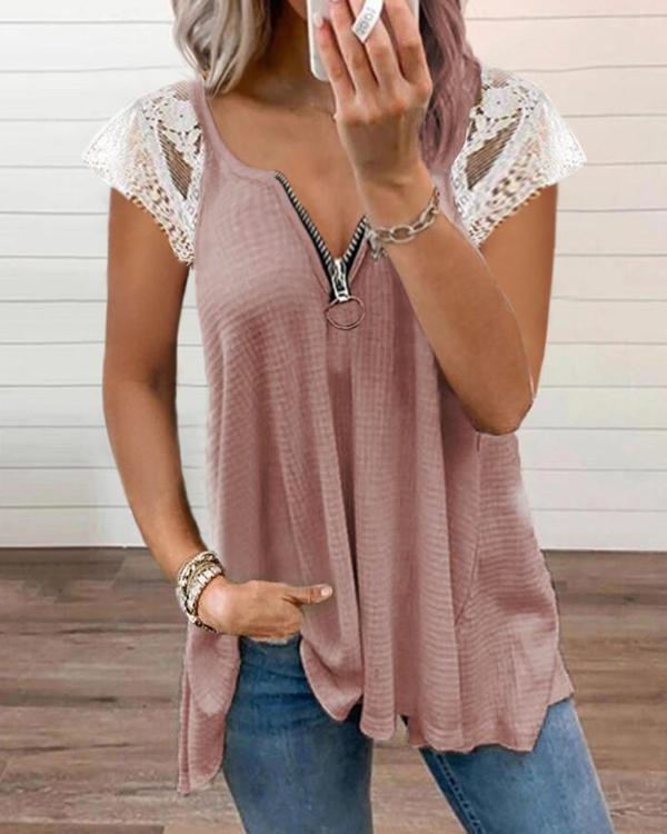 Lace Zipper Short-Sleeved T-Shirt