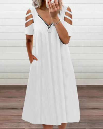 Women's Off-the-shoulder Zipper Dress