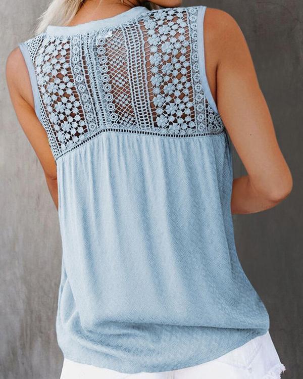 Women's Lace Casual Shirt Vest Tank