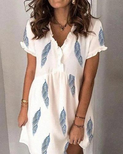Fresh V-neck Feather Print Dress