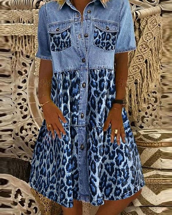 Leopard Print Short Sleeve A-Line Midi Dresses