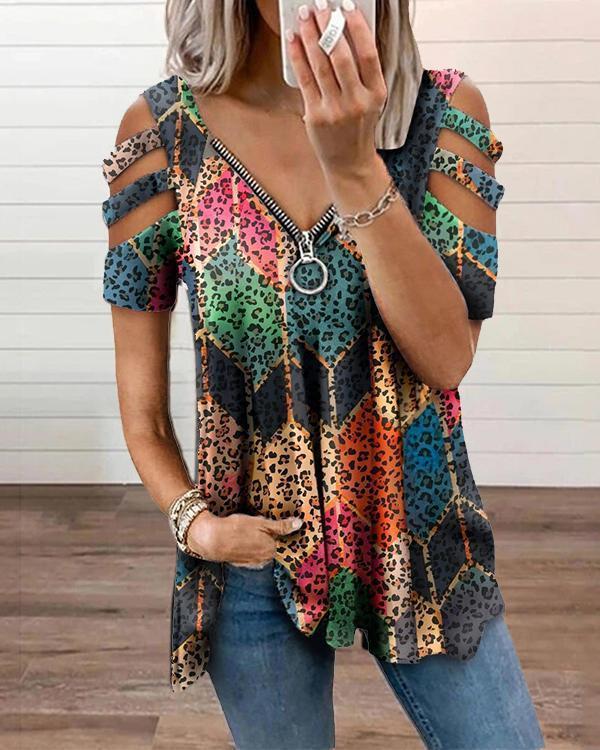 Leopard Zipper Graphic T-shirt