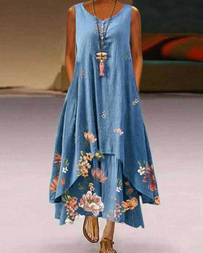 Plus Size Print Sleeveless A-Line Asymmetrical Maxi Dress