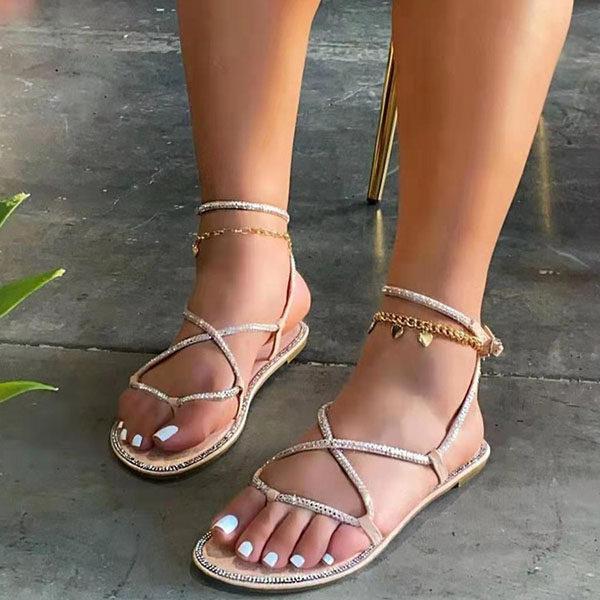 Women's Stylish Rhinestone Flat Roman Sandals