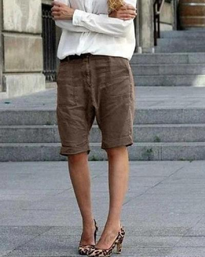 Casual Daily Zip up Button Linen Shorts