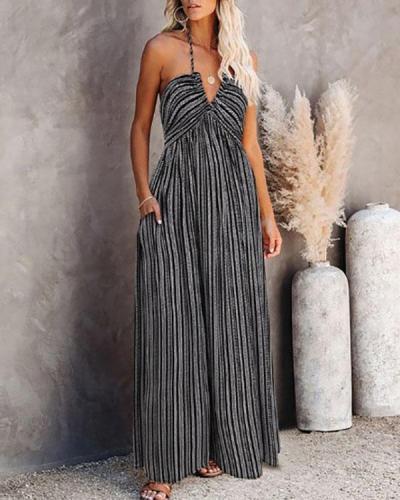 Strap Wrapped Chest Long Slit Dress