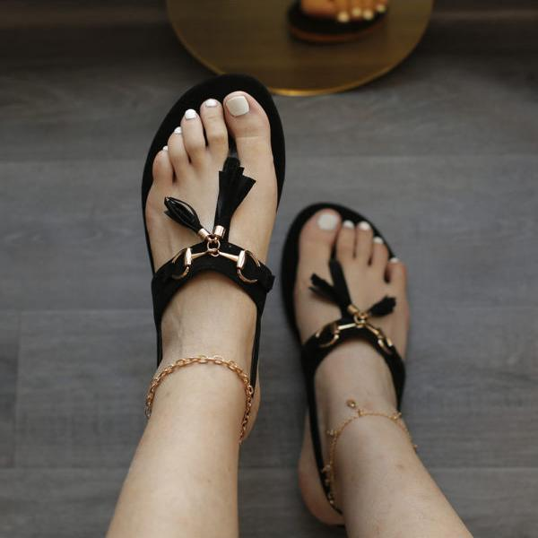 Womens Fashion Tassel Casual Flat Sandals