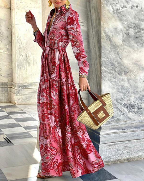 Fashion Long Sleeve Holiday Print Dress
