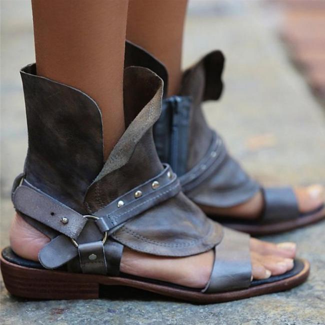 Flat Heel PU Zipper Casual Sandals
