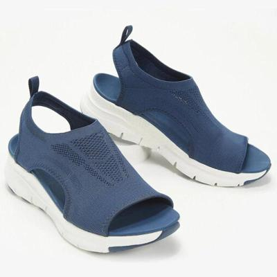 Women Casual Comfortable Flyknit Fabric Hollow-out Slip On Flat Sandals