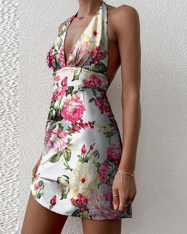 Sexy Lace up Deep V Neck Print Beach Dress