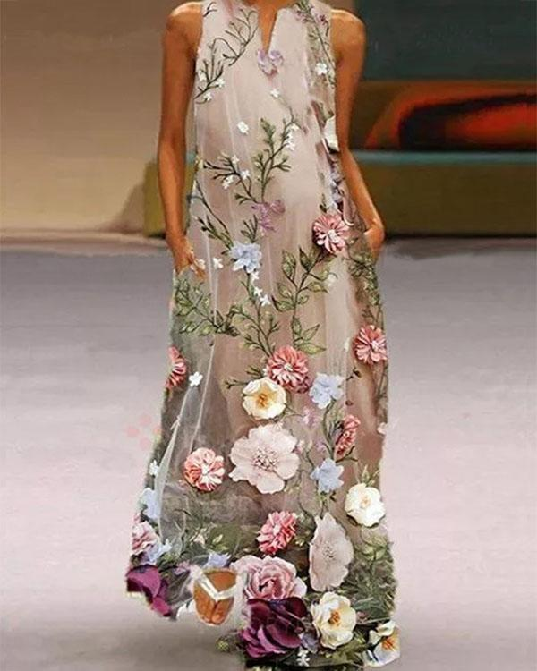 Casual Floral Print V-neck Maxi Dress Women