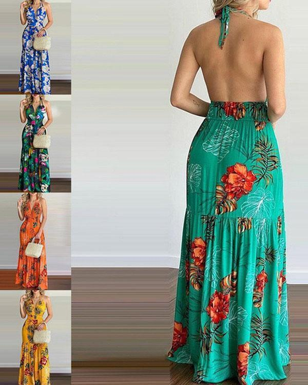 Women's Printed Halter Sexy Dress