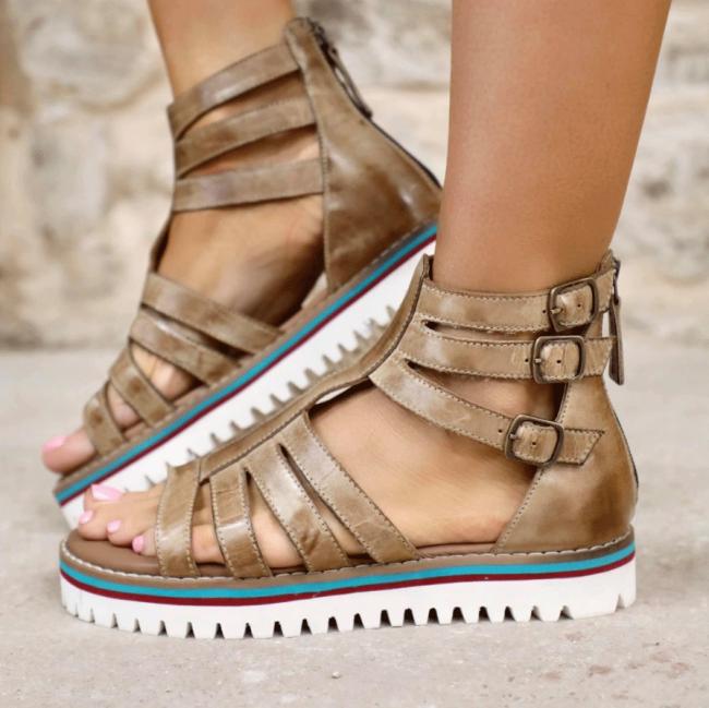 Women's Buckle Flat Heel Sandals