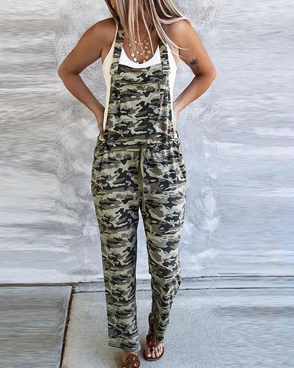 Women's Sleeveless Camo Overalls Jumpsuit Casual Loose Romper