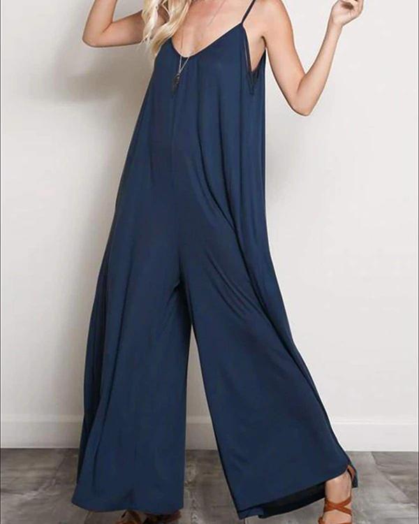 Women's Casual V-Neck Sleeveless Oversized Jumpsuit