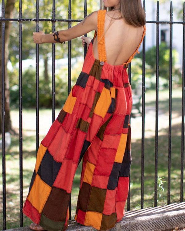 Womens Plaid Pocket Casual Jumpsuit