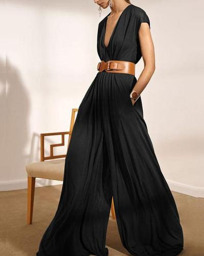 Fashion V Neck Loose Fit Floor Length Wide Leg Jumpsuits With Waistband