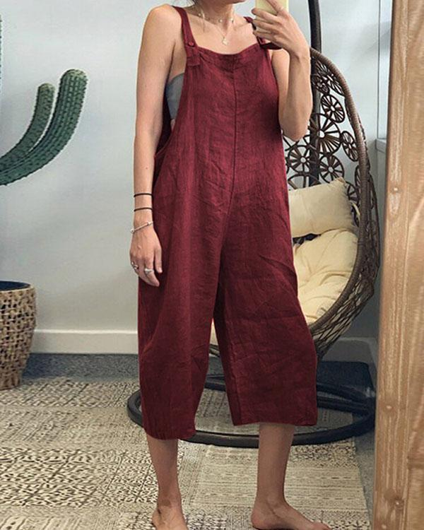 Plus Size Linen Solid Women Jumpsuits With Pockets