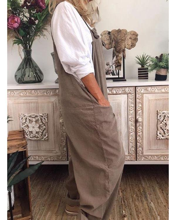 Womens Plus Size S-5XL Overalls Casual Loose Jumpsuit