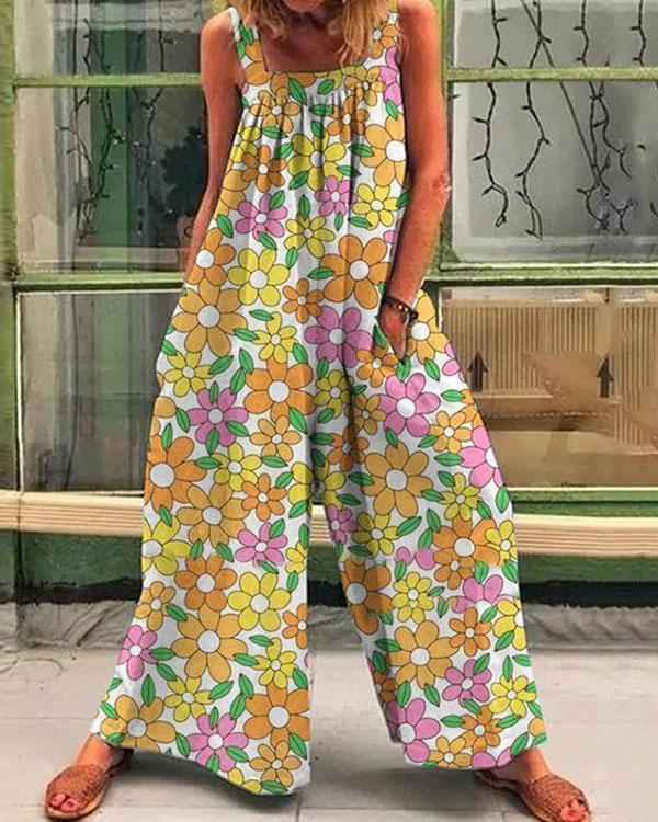 Women Colorful Multiflora Print Casual Loose Jumpsuit