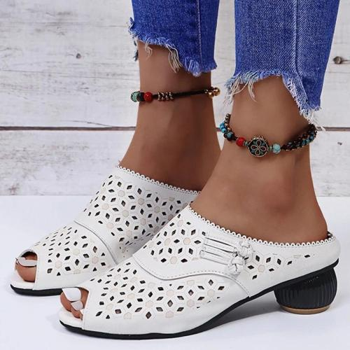 Women Elegant Daily Pu Peep Toe Hollow-out Chunky Heel Sandals
