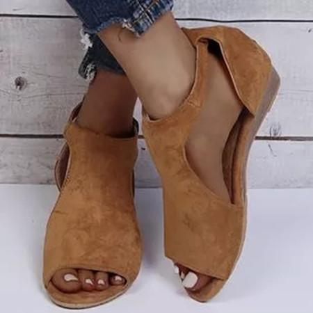 Women's Buckle Round Toe Cloth Flat Heel Sandals