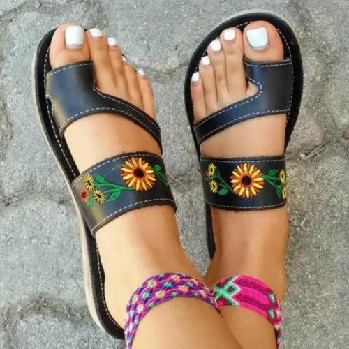 Women Casual Fahion Pu Floral Embroidery Toe Loop Platform Sandals Slippers