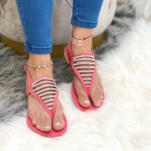 Women's Stylish Hollow Rhinestone Flat Sandals