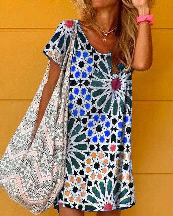Geometry Print V-neck Women's Short Sleeve Mini Dress