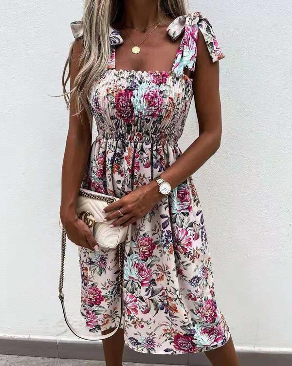 Women A Line Print Lace up Strap Dress