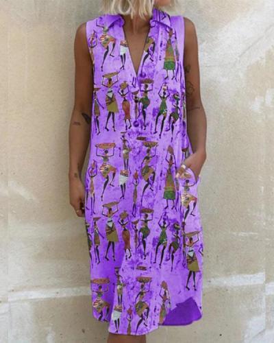 Women's Sleeveless V Neck Print Dresses