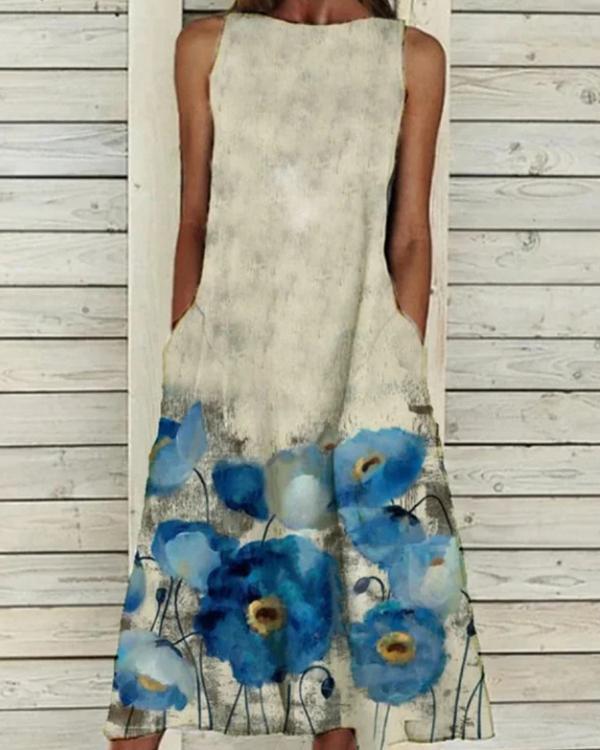 Sleeveless Holiday Crew Neck Floral Dresses