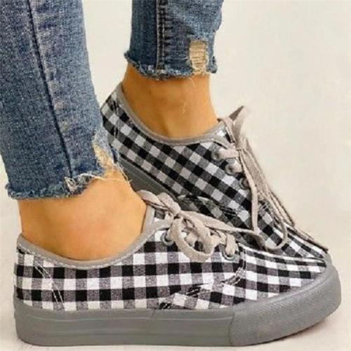 Women Casual Fashion Canvas Print Lace Up Sneakers