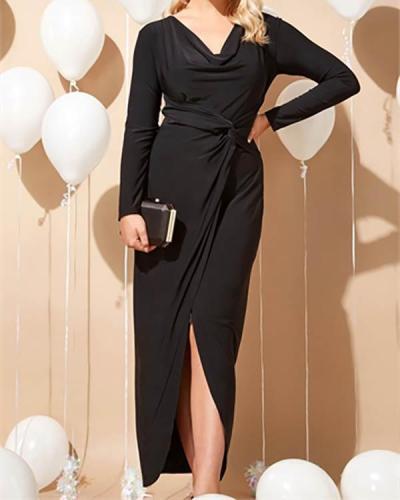 Black Cowl Neck Twist Detail Maxi Dress