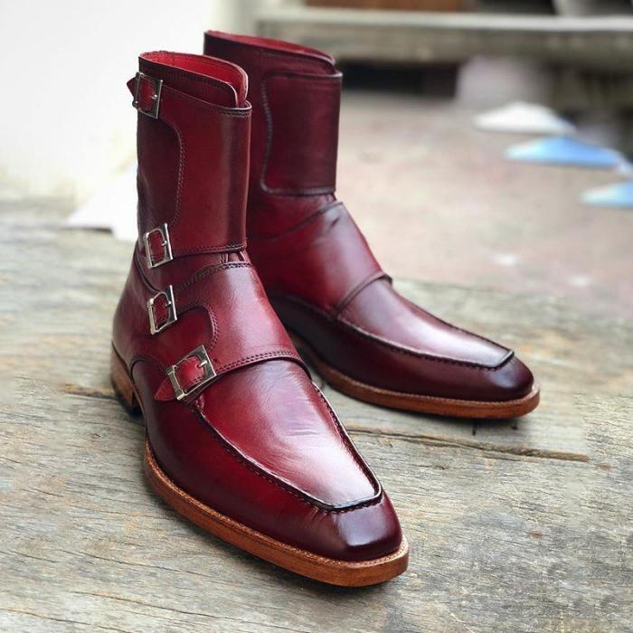 Handmade Men's Burgundy Colour Quad Monk Strap Boots