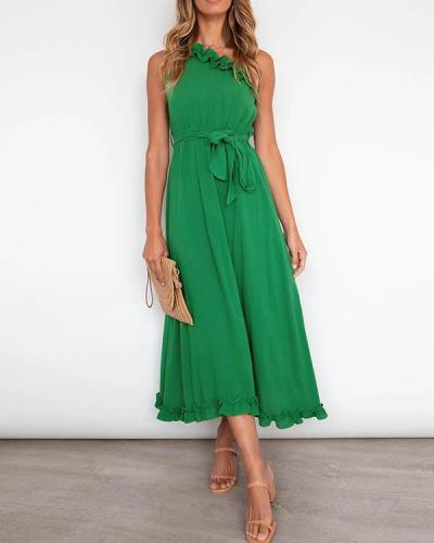 Sleeveless Laced up One Shoulder Elegant Ruffle Design Dresses