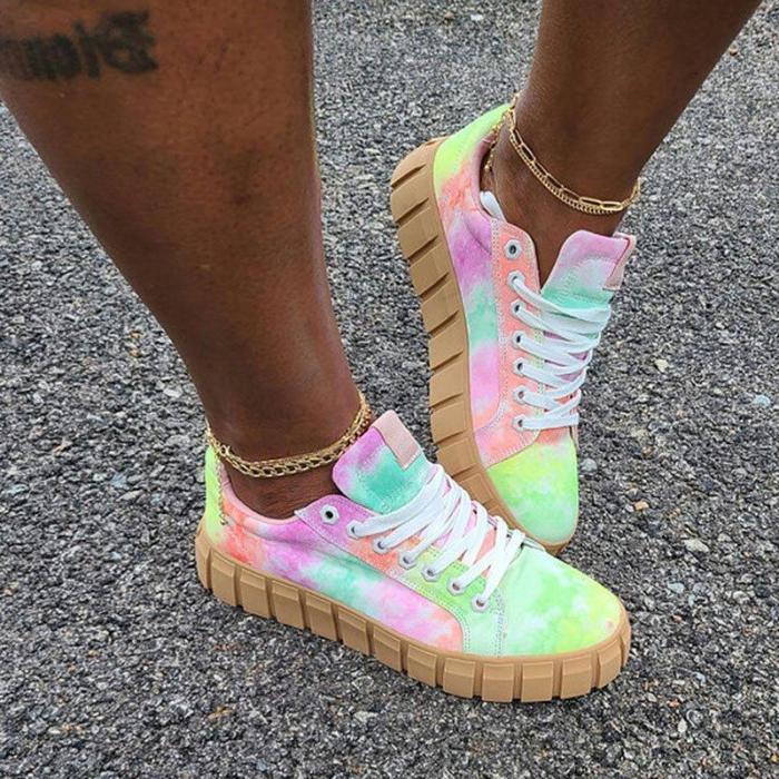 Women's Comfy Multi Color Platform Tennis Shoes